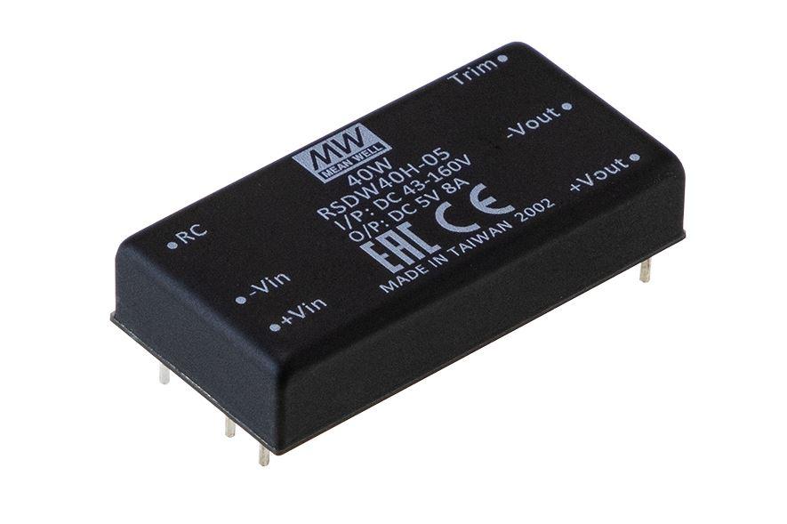 RSDW40 DC/DC konverter fra MEAN WELL. Forhandler er Power Technic. Ring 70 208 210
