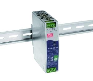 WDR-60 DIN-rail strømforsyning fra MEAN WELL. Forhandler er Power Technic.
